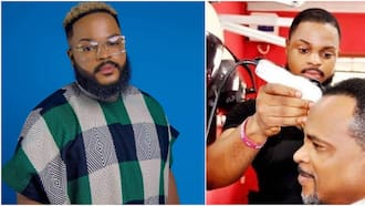 BBNaija: Nigerians easily recognise Whitemoney as throwback photo shows him cutting actor Fred Amata's hair