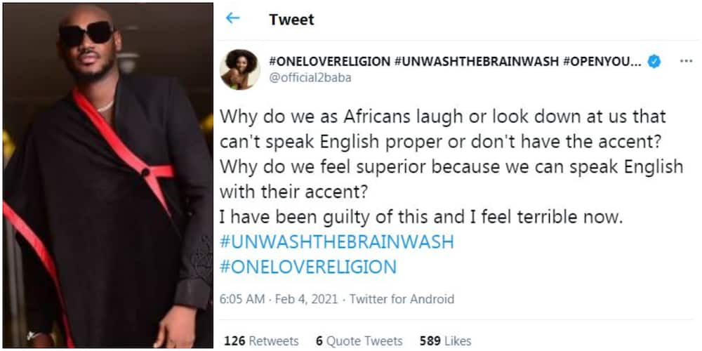 Singer 2baba says he has been guilty of laughing at people with poor English in the past