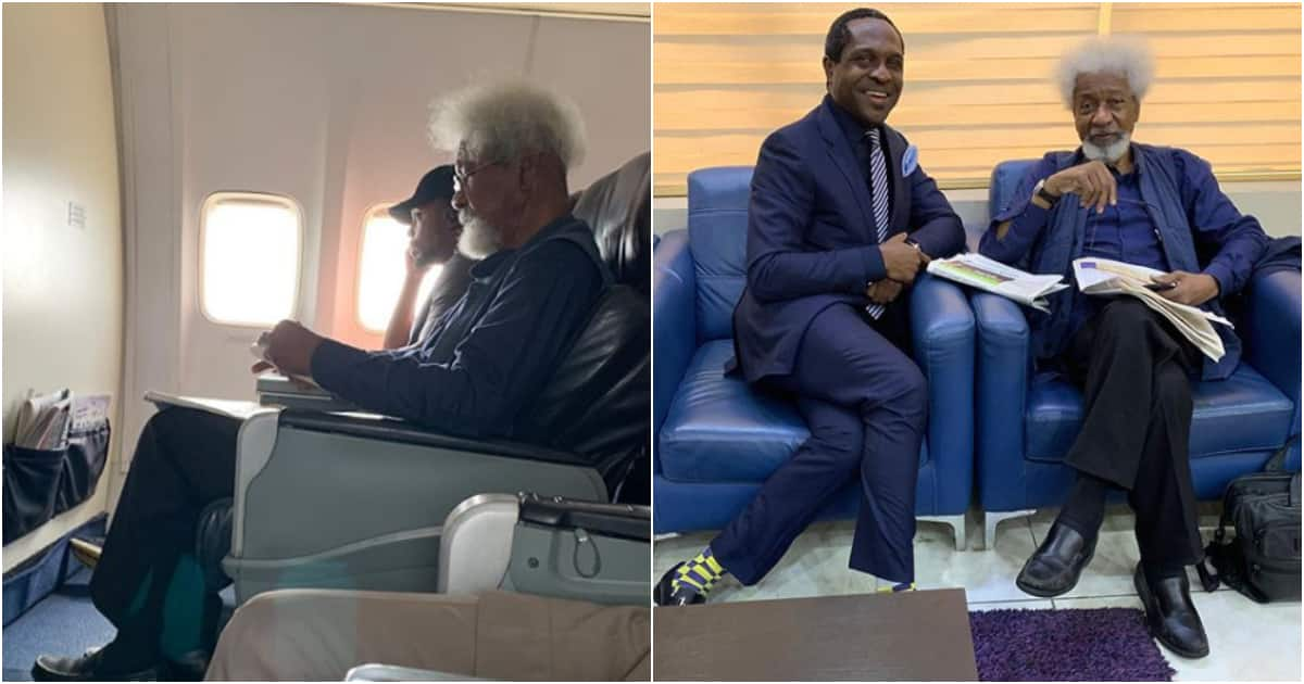 Young man tells Wole Soyinka to leave his seat on an airplane