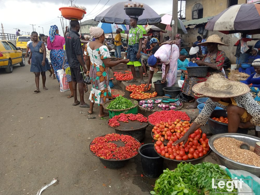 Tomato is sold from N200 and N300 upwards at the market while the big-sized dry onion is sold from N500. Photo credit: Esther Odili
