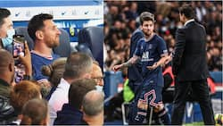 Panic as Lionel Messi shuns manager Pochettino during PSG's victory over Lyon on his home debut
