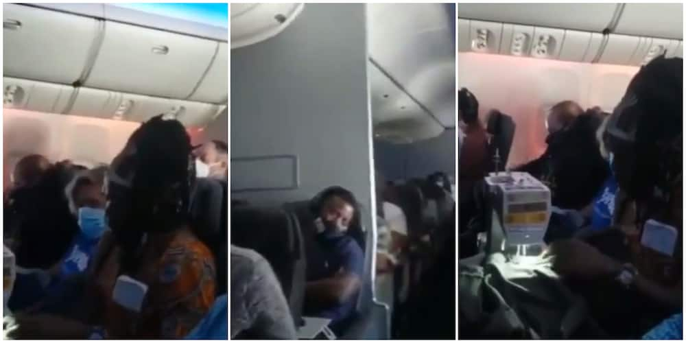 Reactions as black woman is seen sewing clothes on an aeroplane in hilarious video