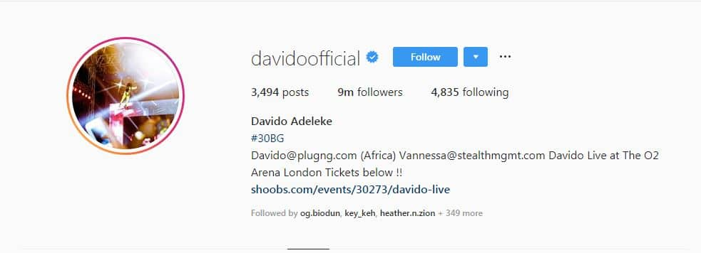 Davido becomes first Nigerian celeb to have 9m followers on Instagram