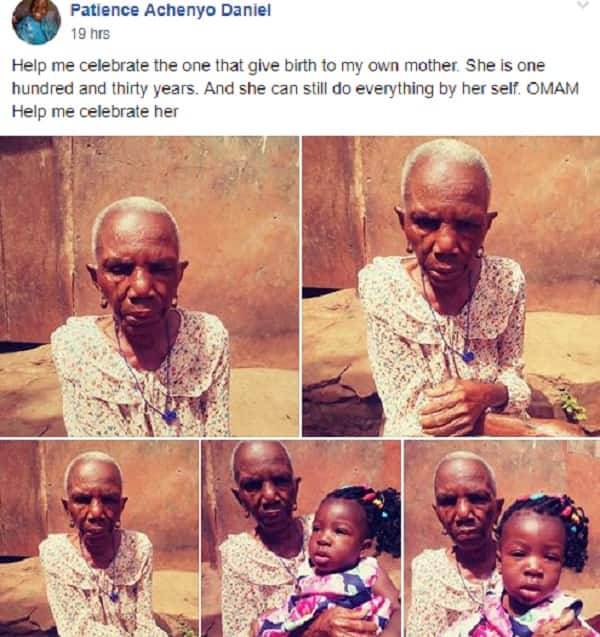 Nigerian woman celebrates her grandmum as she clocks 130 years of age (photos)