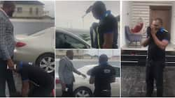 Emotional moment policeman threw away his cap, prostrated for Nigerian man after being gifted a new car