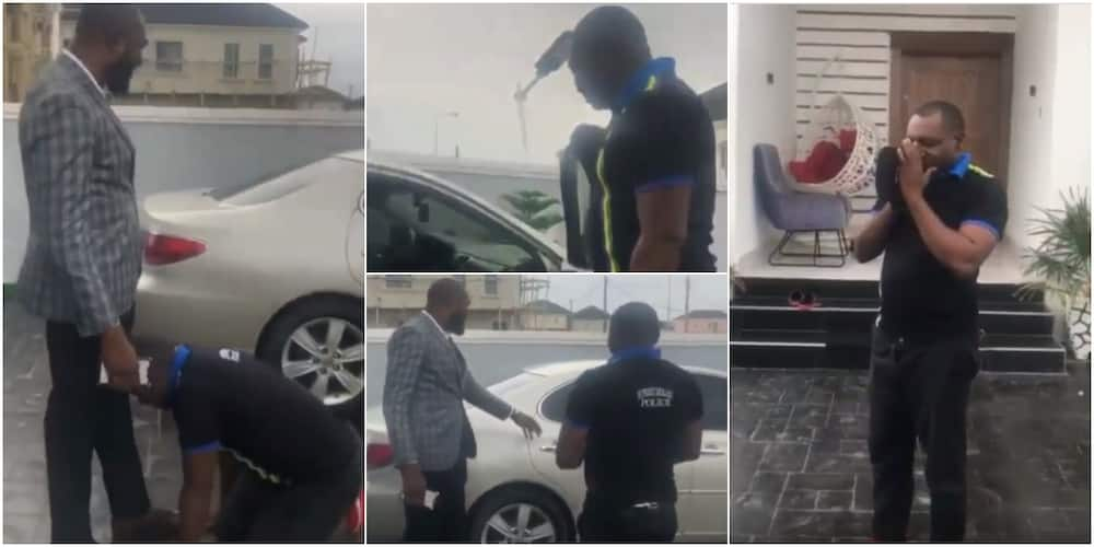 Police officer goes wild in surprise as his Nigerian boss gifts him new car, he throws away his cap and prostrates in video