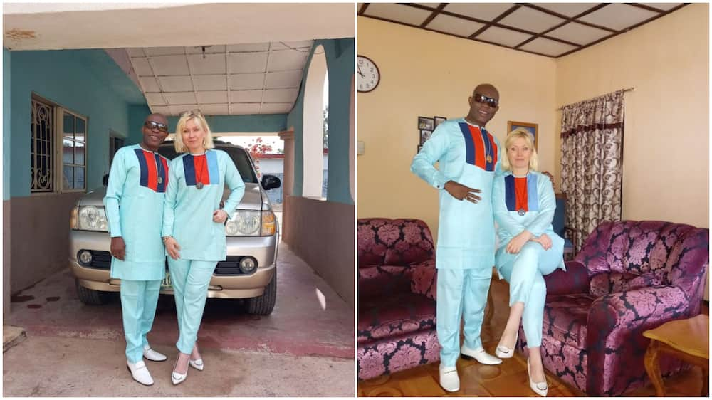 Oyinbo woman shows off her husband on their 26th year wedding anniversary, many Nigerians react