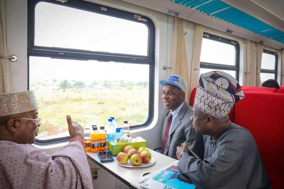 Amaechi, Amosun, Alake take historic train ride from Lagos to Abeokuta. Source: Facebook; Ibikunle Amosun