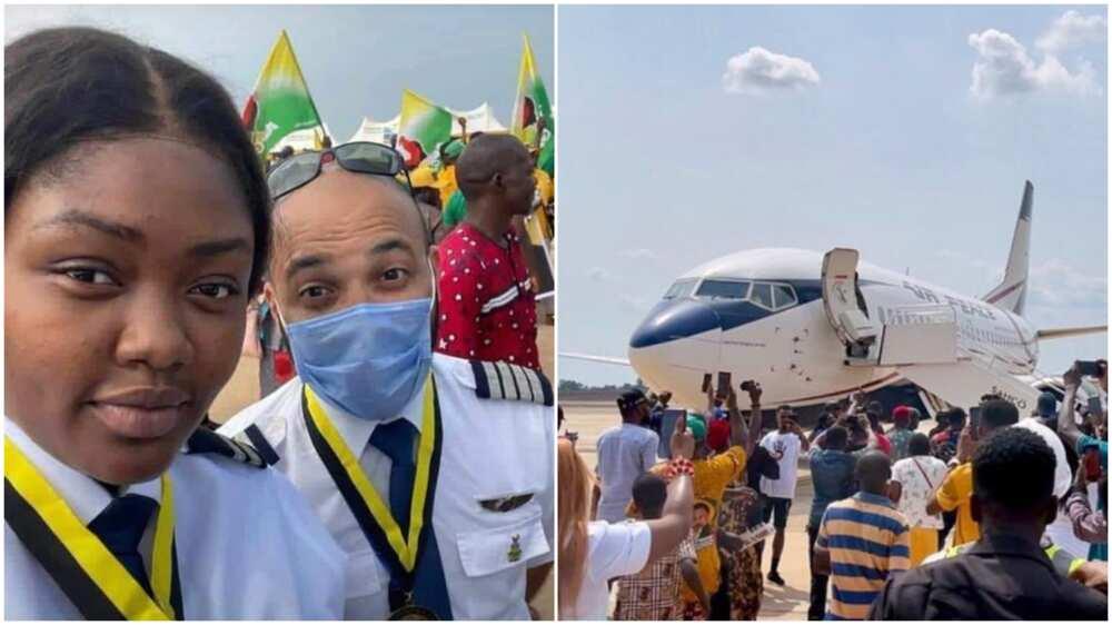 Nigerians celebrates '1st female' pilot to land plane in Anambra Int'l airport