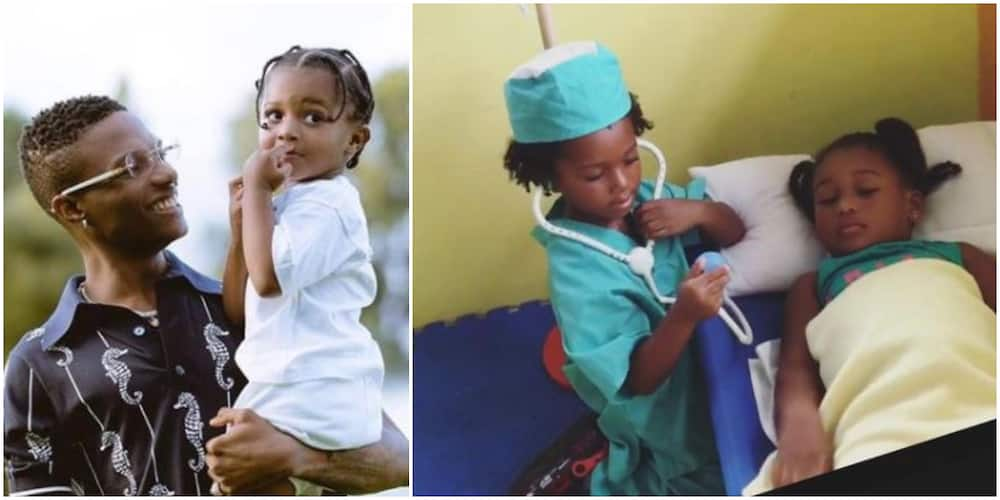 Singer Wizkid's Son Zion Looking Cute in Doctor Costume as He Attends to 'Patient'