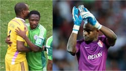 Former Super Eagles goalkeeper Vincent Enyeama reacts as Ahmed Musa closes in on all-time record