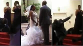 Massive reactions as groom falls under anointing after kissing bride on the altar, jumps up in viral video