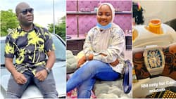 Mompha's wife clocks 26, big boy gifts her a Richard Millie watch for standing by him (photos)
