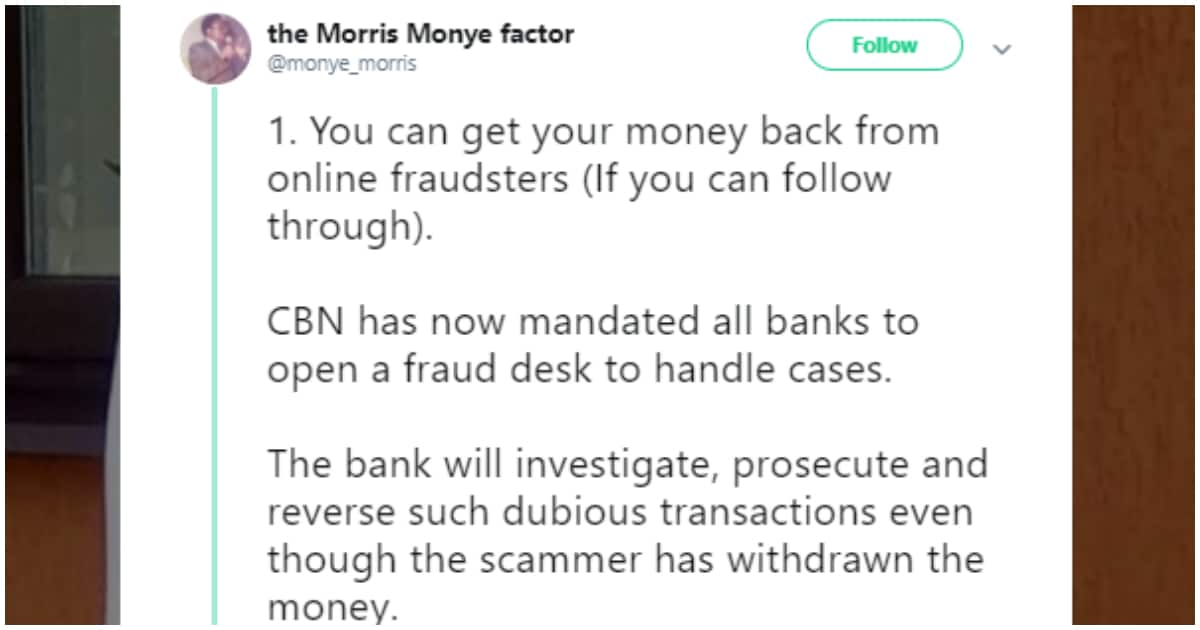 Nigerian man gives useful tips on how to retrieve one's stolen money from internet fraudsters