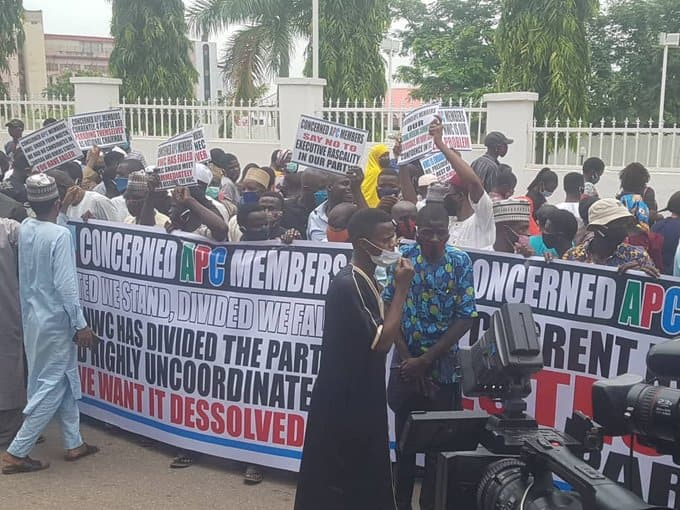 APC protesters storm party's national secretariat, demand dissolution of NWC