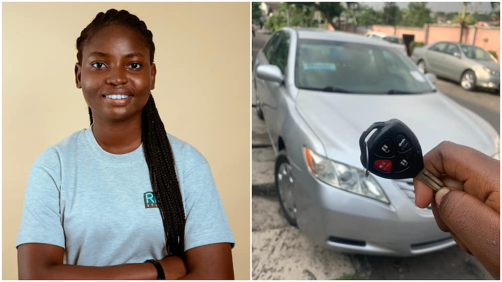 Nigerian lady buys herself a car, says it is the hardwork she did in 2020