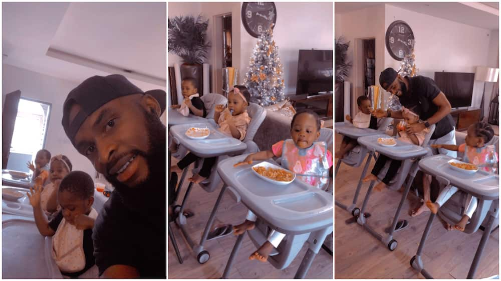 Photos of man babysitting cute triplets as they eat their food break the internet