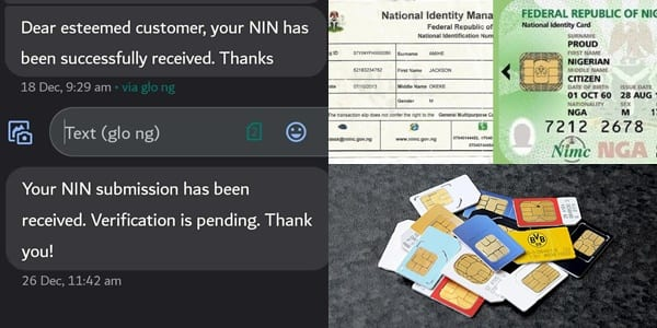 NIN: Message to receive if your ID number is successfully linked with SIM cards