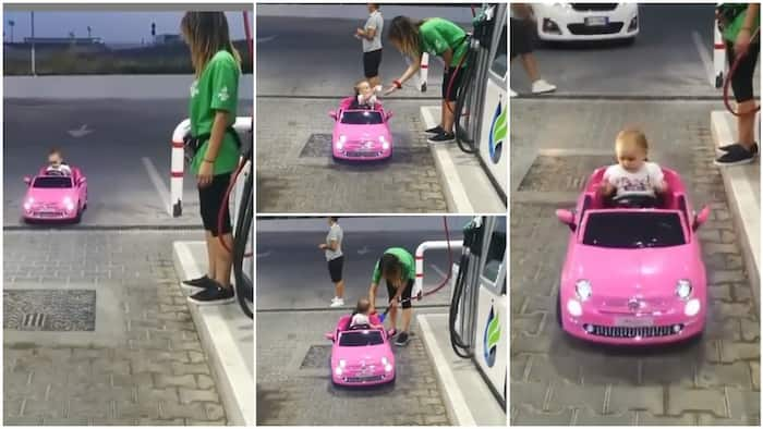 Baby drives her toy car into filling station, pays attendant to buy fuel, lady pretends to sell in viral video