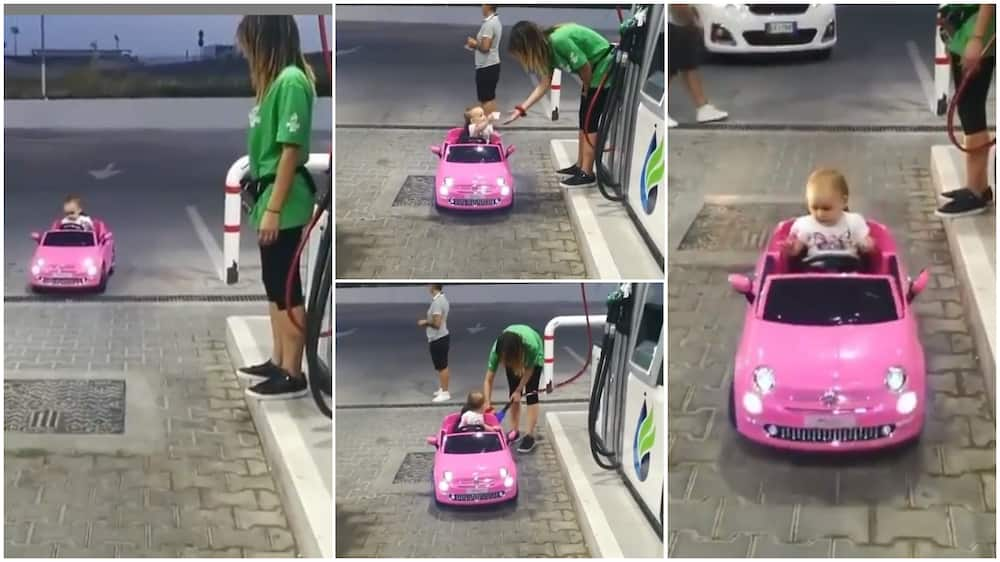 The baby drove to the pump section.