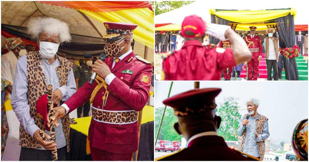 Nobel Laureate Wole Soyinka decorated as Super Marshall of Amotekun, photos drop