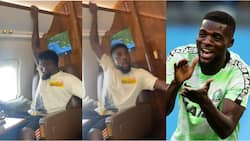 Super Eagles star shouts 'wetin happen' as he fears for his life during air turbulence inside private jet