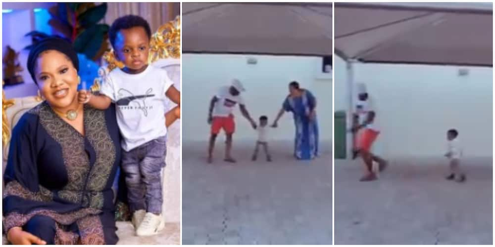 Children will disgrace you - Toyin Abraham says as Ire runs to his dad in viral TikTok challenge