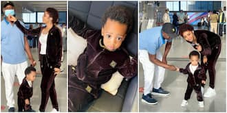 Regina Daniels and son on vacation.