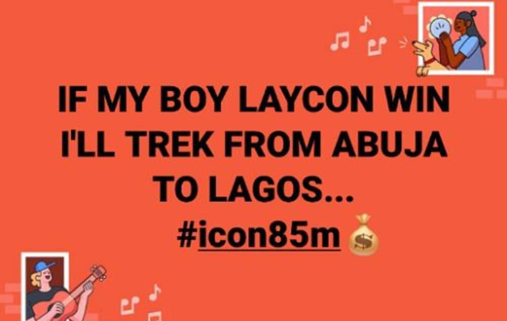 Big Brother Naija: Man vows to trek from Abuja to Lagos if Laycon wins