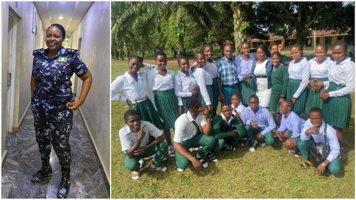 Kind Nigerian police officer pays school fees of 19 students in SS3, many people react