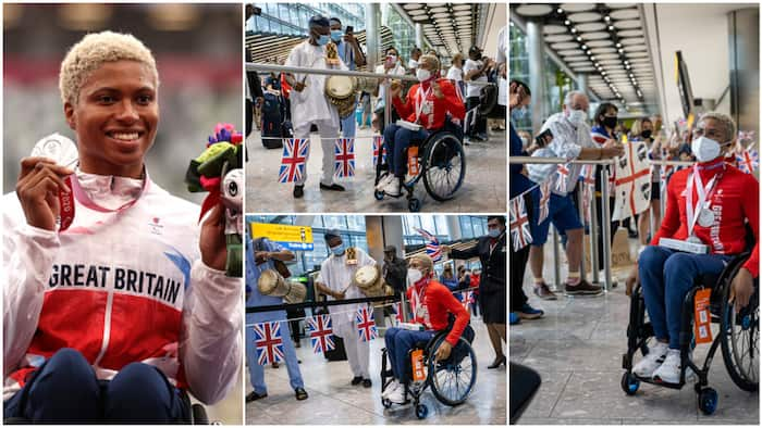 Moment Nigerian lady who represented Britain at Paralympics was welcomed by oyinbos, family at the airport