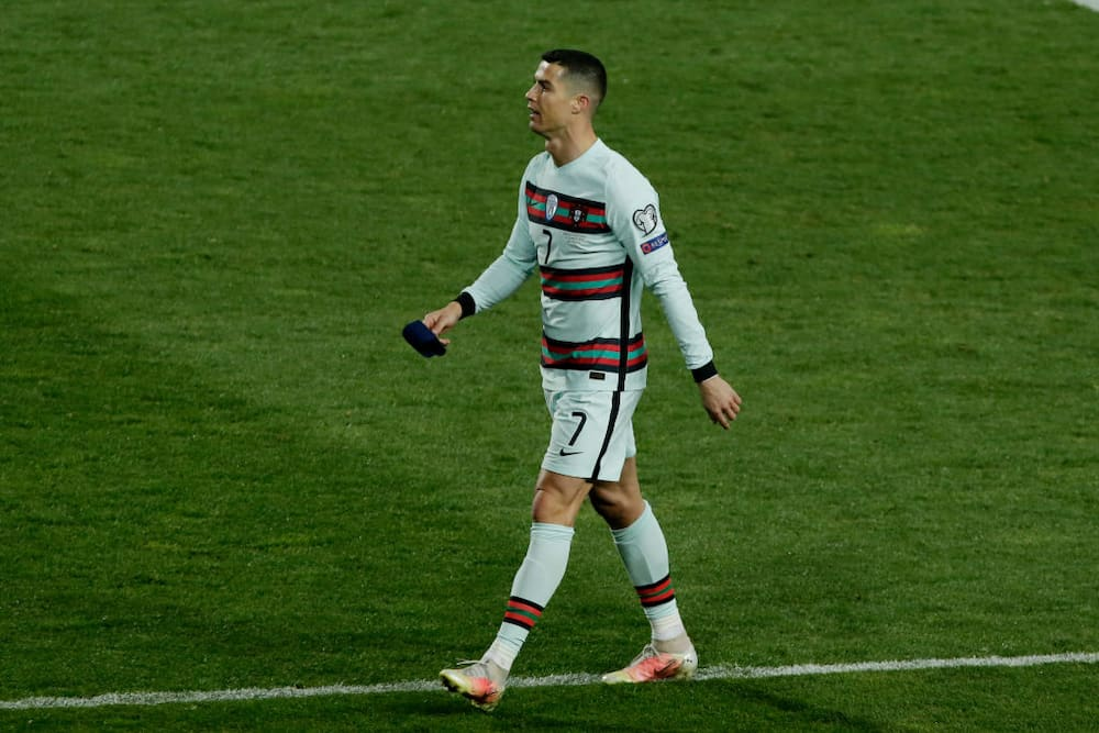 mband that Cristiano Ronaldo threw to the ground in disgust against Serbia