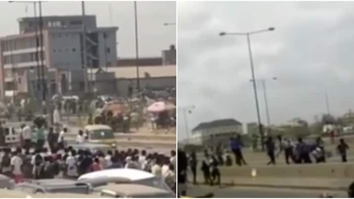 Video of students of two secondary schools spotted fighting with dangerous weapons on Lagos-Badagry expressway