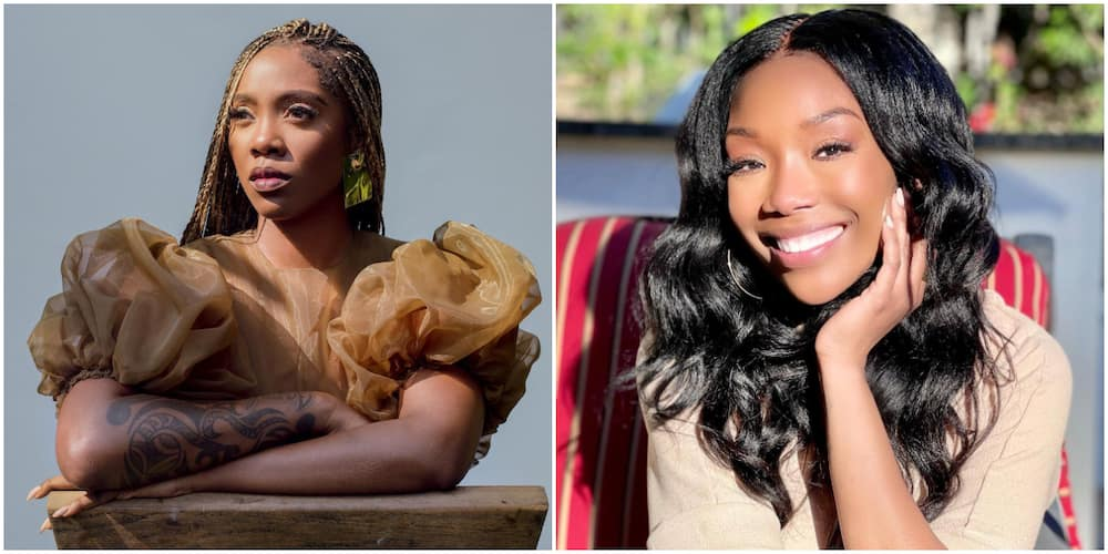 Tiwa Savage Gets Emotional As Her Idol Brandy Tears Up After Recording Her Verse on Somebody's Son