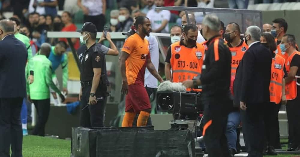 Marcao of Galatasaray leaves the pitch after receiving red card during the Turkish Super Lig. (Photo by Hakan Burak Altunoz/Anadolu Agency via Getty Images)