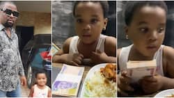 This is not my blood: Actor Apama surprised as little daughter picks N50k over plate of rice and meat