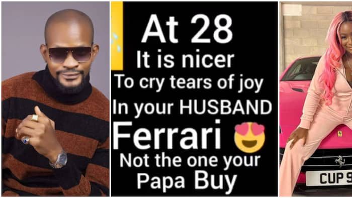 At 28 it's nicer to cry in your husband's Ferrari not the one your papa bought, Uche Maduagwu tells DJ Cuppy