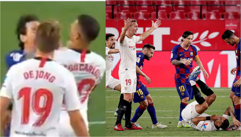 Messi spotted punching Sevilla star during frustrating 0-0 draw, fans react