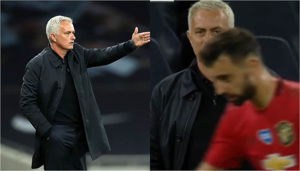 Jose Mourinho spotted discussing with Bruno Fernandes 10 minutes before penalty decison