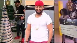 Actor Yul Edochie laments heavily as BBNaija's Prince receives N10m cheque and huge money cake from fans