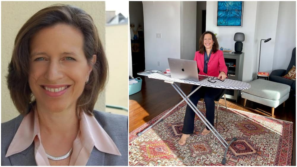Woman turns ironing board into work desk for her home office, shares photo