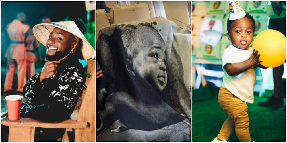 Singer Davido Shares Photo of Customized Blanket with Ifeanyi's Face Printed on It