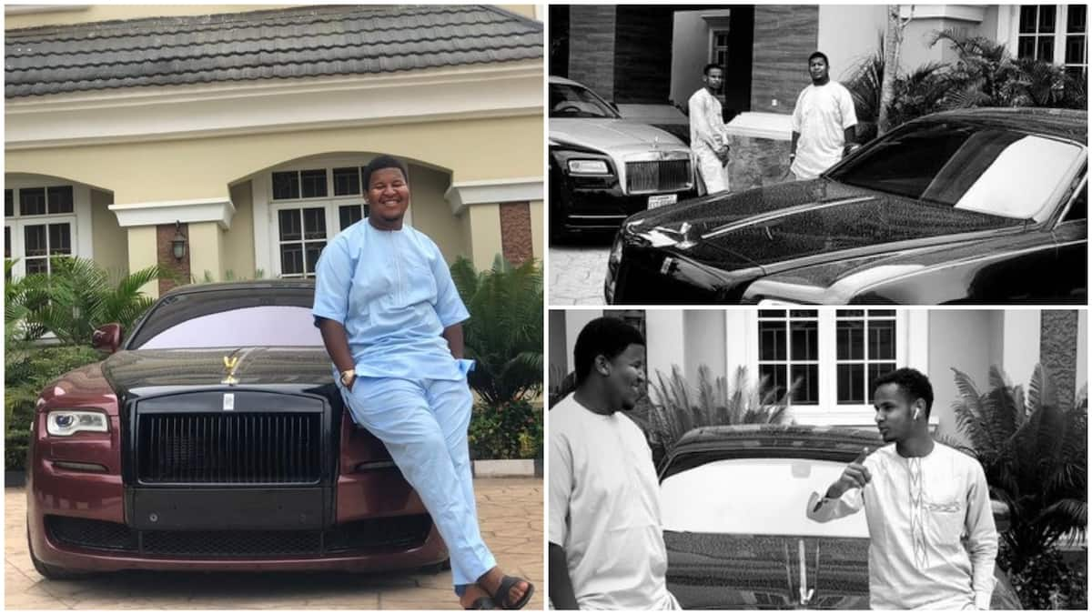 Rich young Nigerian man flaunts his dad's fleet of Rolls Royce, pictures go viral