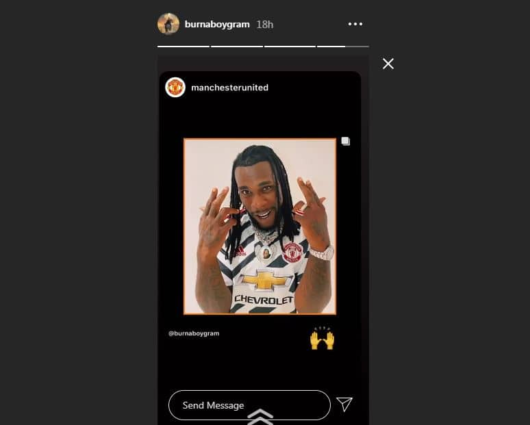 Burna Boy receives new Manchester United kit from football club (photos)