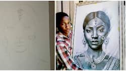 16-year-old boy makes adorable Indian painting of singer Simi, Nigerians are amazed at the beautiful artwork