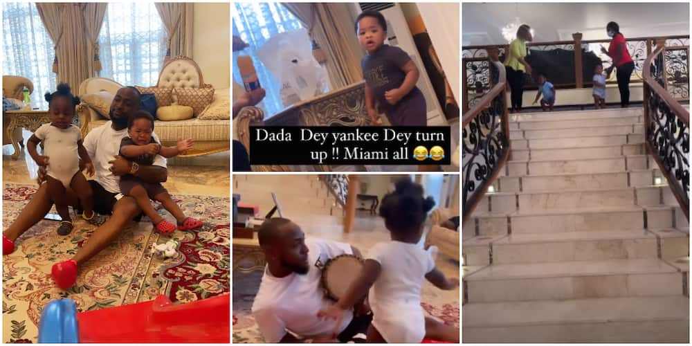 Daddy Duties: Davido Hangs Out With Ifeanyi and Bred's Son, Jordan, in His Father's Palatial Mansion