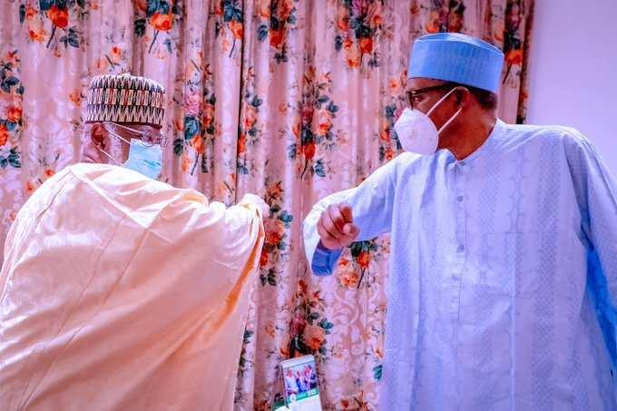 Buhari Meets Former Head of State Abdulsalami in Aso Rock