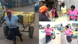 Joy as woman who had gone viral for pushing jerrycans on the street with handcart gets help from strangers