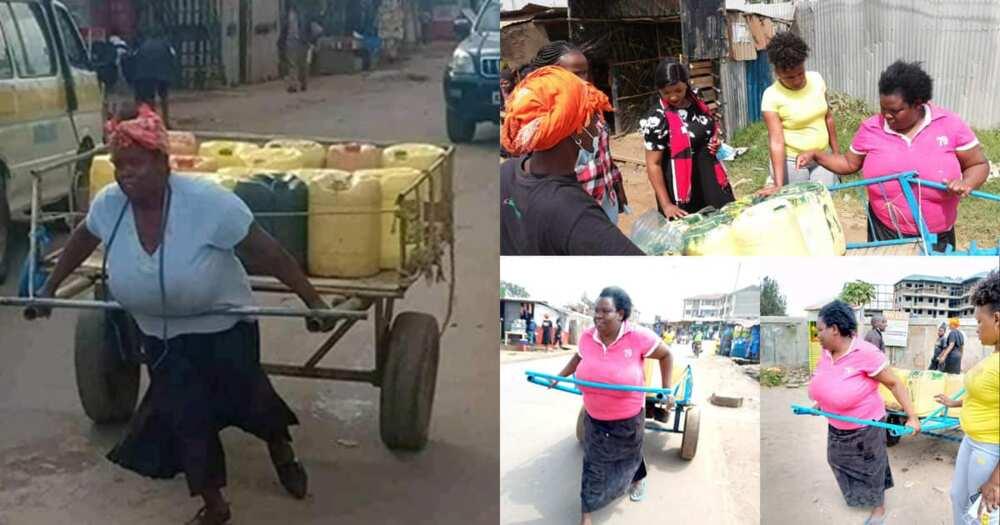 Nairobi woman pushing mkokoteni