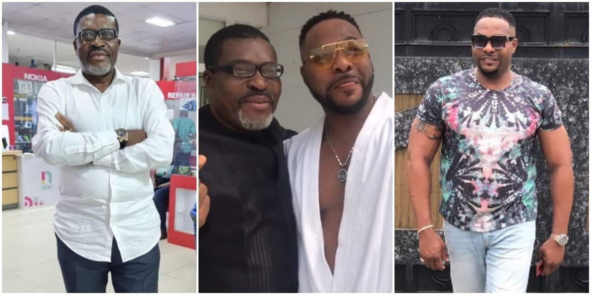 Amazing moment Bolanle Ninalowo prostrated as he met with Nollywood veteran Kanayo O. Kanayo